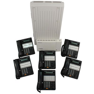 Panasonic KX-TD1232 KSU with 6 Phones & Voicemail (Refurbished)