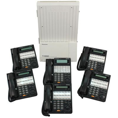 Panasonic KX-TD816 KSU with 6 Phones & Voicemail (Refurbished)